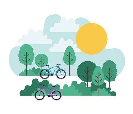 A park scene with bicycle vector illustration design