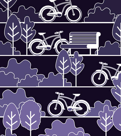 Park scene with chair and bicycle vector illustration design
