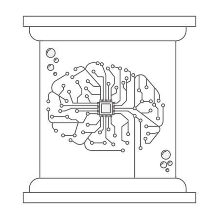 processor with brain icon in futuristic glass bottle vector illustration design Vettoriali