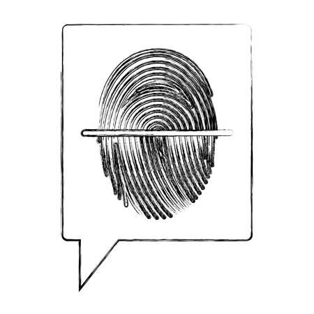 speech bubble with fingerprint access vector illustration design Illustration