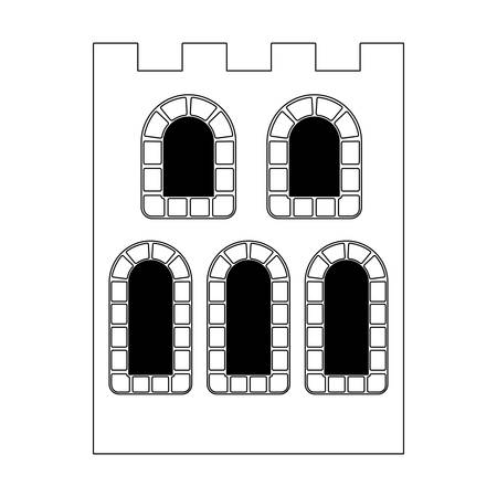 facade and windows of medieval castle vector illustration design Ilustração