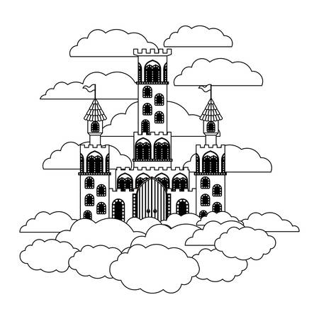 medieval castle on the sky vector illustration design