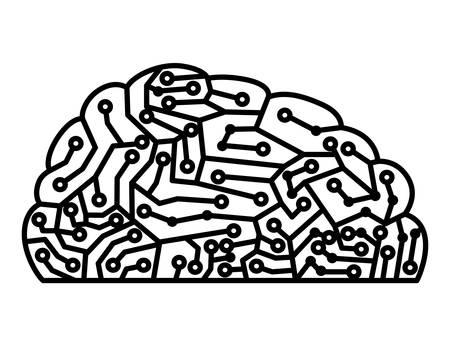 Brain with circuit electric icon vector illustration design Vettoriali