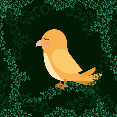 cute yellow bird in forest scape scene vector illustration design Illustration