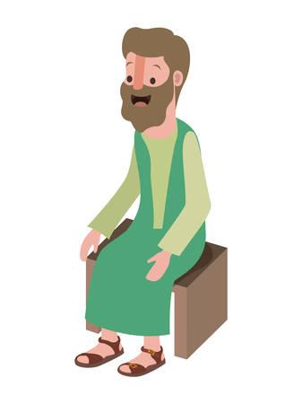 Apostle of Jesus sitting on wooden chair vector illustration design