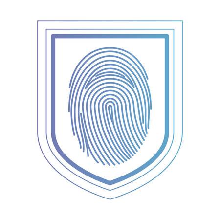 Shield with fingerprint access vector illustration design