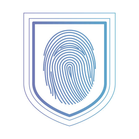Shield with fingerprint access vector illustration design