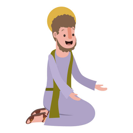 Apostle of Jesus on knees praying character vector illustration design