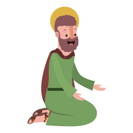 Apostle of Jesus on knees praying character vector illustration design Stock fotó - 100115405