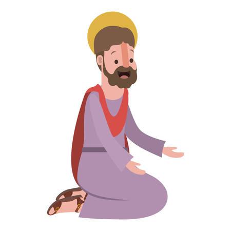 apostle of Jesus on knees praying character vector illustration design