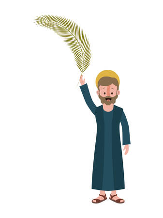 Apostle of Jesus with palm leaf character vector illustration design Illustration