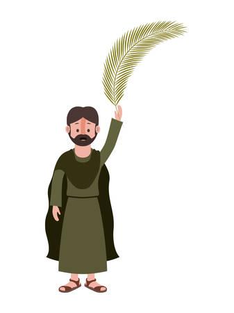 Apostle of Jesus with palm leaf character vector illustration design Illustration