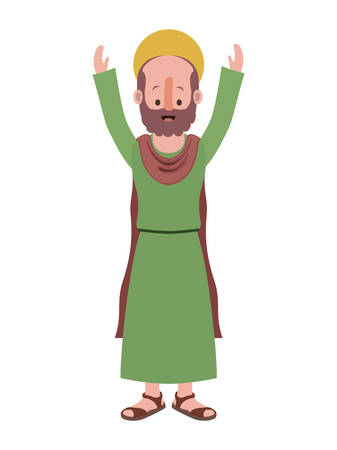 apostle of Jesus with hands up character vector illustration design