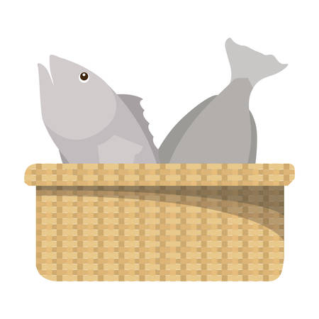 basket with fish icon vector illustration design