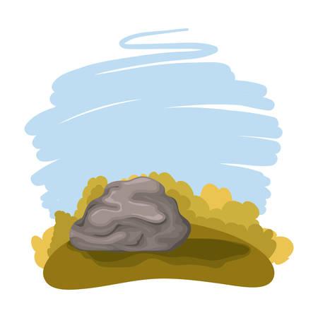 day camp field with rock landscape scene vector illustration design Illustration