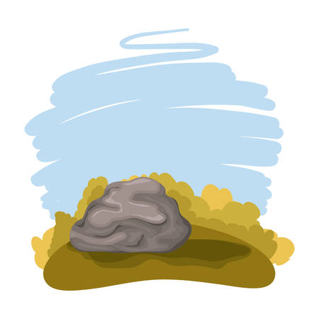 day camp field with rock landscape scene vector illustration design Vectores