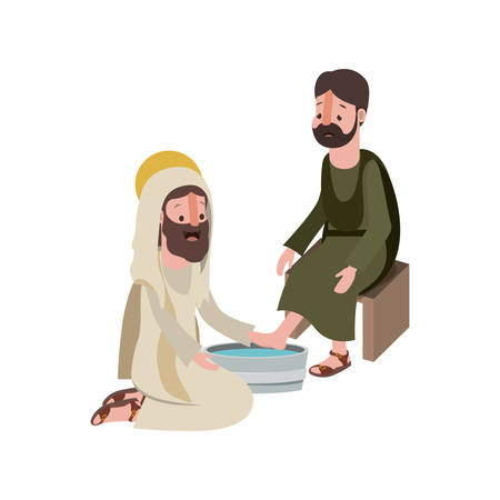Jesus washing the feet of an apostle vector illustration design Illustration