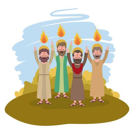 apostelen groep Pinksteren in het ontwerp van de kamp vectorillustratie Vector Illustratie