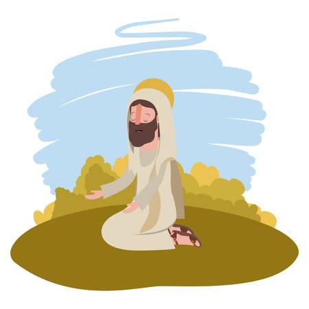 Jesus christ on knees praying biblical scene vector illustration design