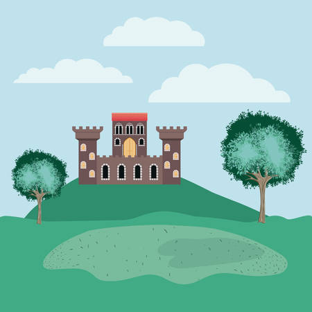 history castle in the landscape scene vector illustration design