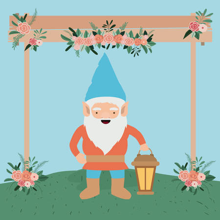 gnome character in the garden with label wooden vector illustration design