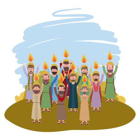 Apostelen groeperen Pinksteren in het ontwerp van de kamp vectorillustratie.