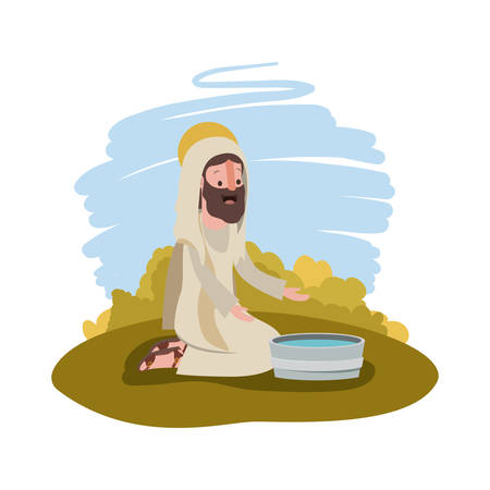 Jesus with water pot in the camp vector illustration design.