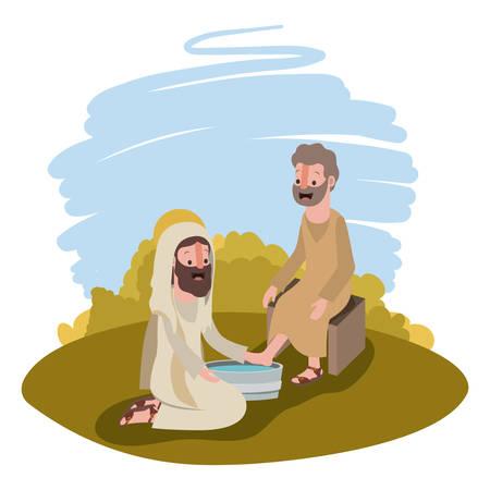Jésus lavant les pieds d'un apôtre dans la conception d'illustration vectorielle de camp.
