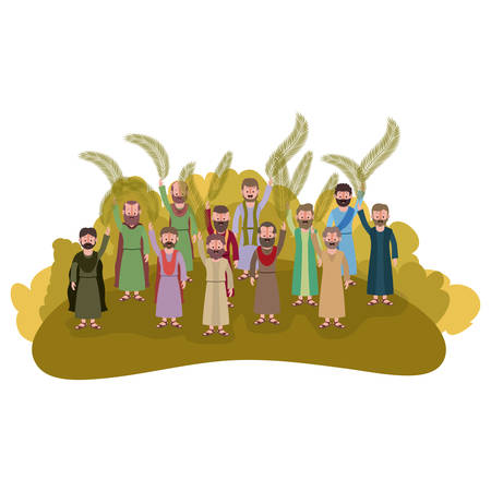 Apostles group with palms leafs in the camp vector illustration design.