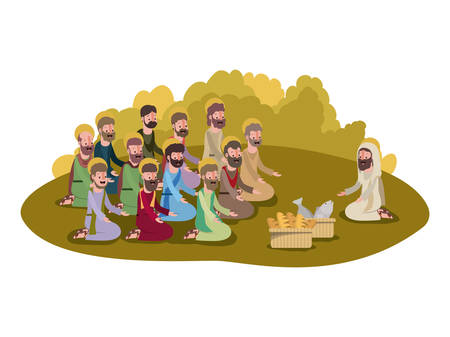 Jesus Christ with apostles multiplication of bread and fish biblical scene. 일러스트
