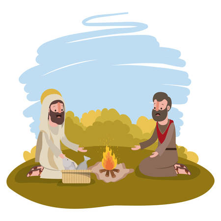 Jesus Christ with apostle biblical scene vector illustration design.