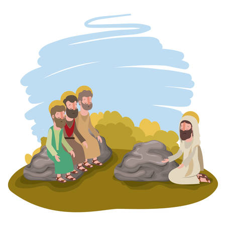 Jesus Christ praying with apostles biblical scene vector illustration design.
