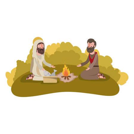 Jesus Christ with apostle biblical scene vector illustration design.