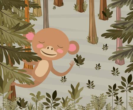 Monkey in the forest scene vector illustration design