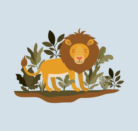 Lion in the jungle scene vector illustration design 矢量图像