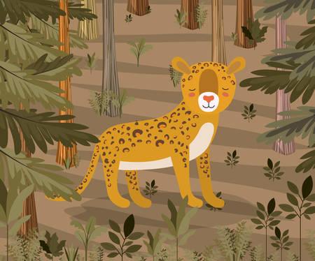 Cheetah in the jungle scene design