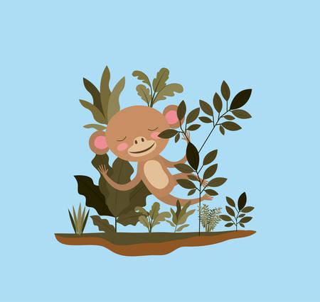 Monkey in the jungle scene design