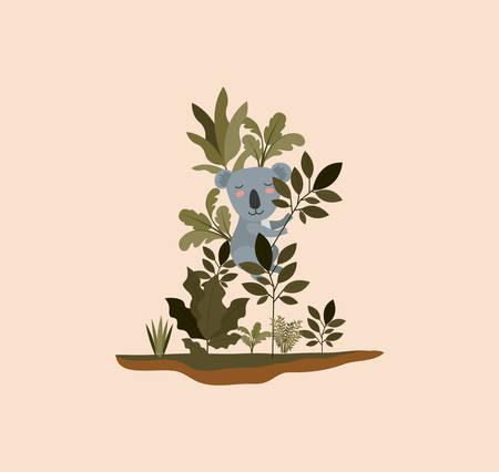 Koala in the jungle scene design