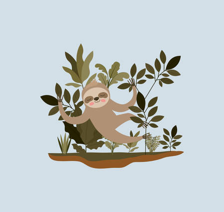 Sloth in the jungle scene design 矢量图像