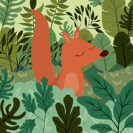 Chipmunk in the jungle scene design