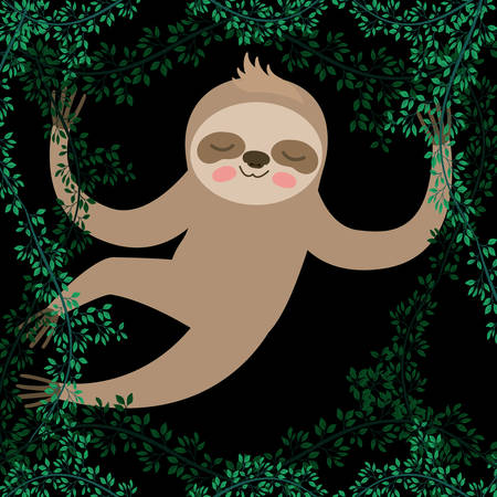 Sloth with leaves border design