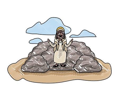Jesus christ in dessert avatar character vector illustration design