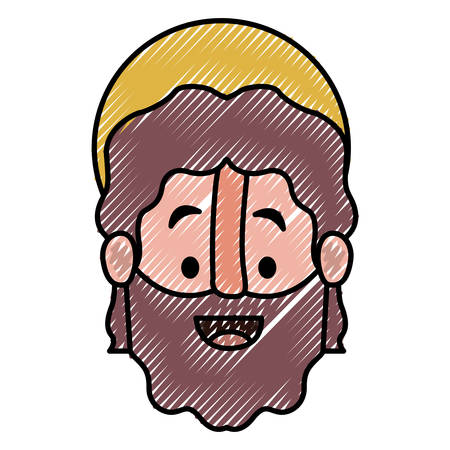 Apostle of Jesus head with halo character vector illustration design. Illusztráció