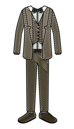 elegant clothes of old man with bowntie vector illustration design Illustration