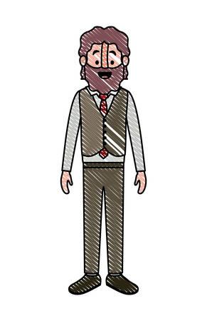 elegant old man with beard vector illustration design