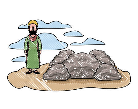 Apostle of Jesus with halo in the rock character vector illustration design