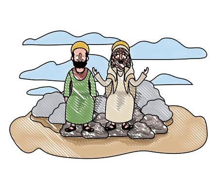 Jesus christ with apostle in the dessert characters vector illustration design