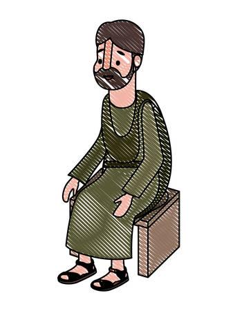 apostle of Jesus sitting on wooden chair vector illustration design Ilustrace