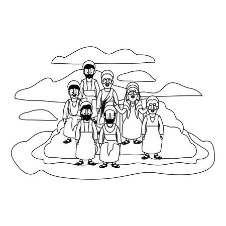 apostles group of Jesus with halo in the rock character vector illustration design Stock fotó - 100163738