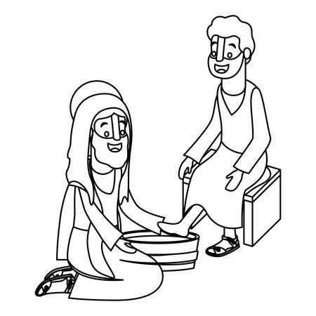 Jesus washing the feet of an apostle vector illustration design Vektorové ilustrace